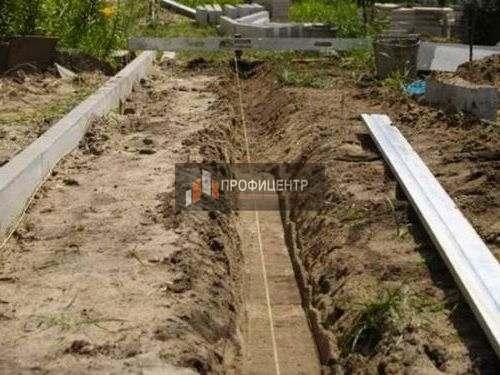 Траншея делается глубиной до 20 см - Установка бордюров для тротуарной плитки