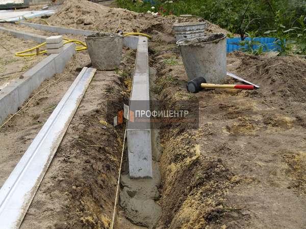 Разметка и подготовка котлована - Установка бордюров для тротуарной плитки